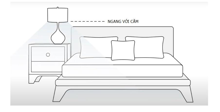 Cao độ đèn bàn cạnh gường ngủ