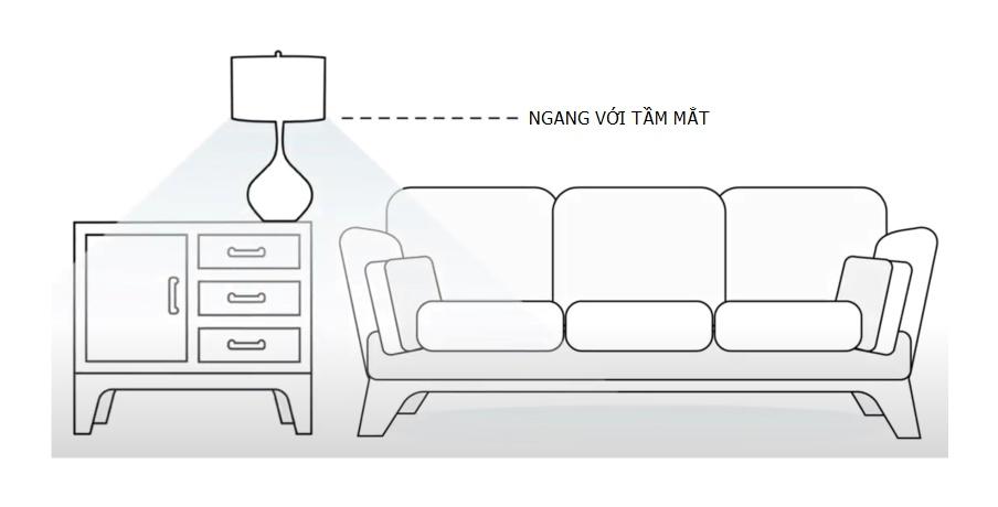 Cao độ đèn bàn cạnh sofa